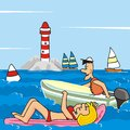 Motorboat sailing boat and lighthouse woman on inflatable chair a man in a sailboat in the background are a holidays by the sea Stock Photos