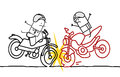 Motorcycle accident hand drawn cartoon characters Royalty Free Stock Image
