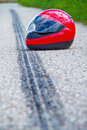 Motorcycle accident. Skid mark on road traffic Stock Image