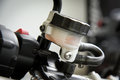 Motorcycle brake fluid, brake reservoir Royalty Free Stock Photo