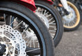 Motorcycle brake and wheel close up Royalty Free Stock Photo