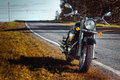 Motorcycle chopper on the roadside Royalty Free Stock Photo