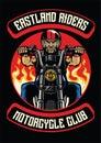 Motorcycle club badge of old man ride motorcycle