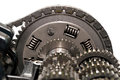 Motorcycle clutch with drive chain and gears. Royalty Free Stock Photo