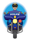 Motorcycle cop policeman riding and watching for traffic problems Stock Image
