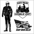 Motorcycle Cop - Retro Clip Art. Police badges and design elements - Vector set Royalty Free Stock Photo