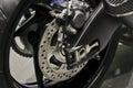 Motorcycle disc brake. Royalty Free Stock Photo