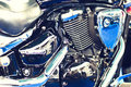 Motorcycle engine of a powerfull chopper Royalty Free Stock Photo