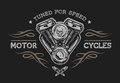 Motorcycle engine in vintage style. Royalty Free Stock Photo