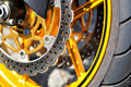 Motorcycle front brake. Royalty Free Stock Photo