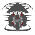 Motorcycle front view and racer