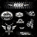 Motorcycle grunge labels set of emblems Stock Photography