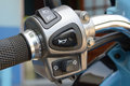 Motorcycle handlebar hooter botton on close up on Stock Images
