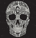Motorcycle inspired typography skull vector illustration. Royalty Free Stock Photo