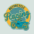 Motorcycle label over blue background vector illustration Royalty Free Stock Photo