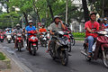 Motorcycle Madness in Ho Chi Minh City, Vietnam Royalty Free Stock Images
