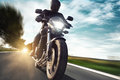Motorcycle man on a very fast Royalty Free Stock Photos