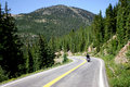 Motorcycle on Mountain Road Royalty Free Stock Photo