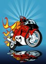 Motorcycle racing colored hand drawn illustration vector Royalty Free Stock Photo