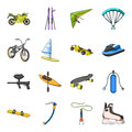 Motorcycle racing, downhill skiing, jumping, parachuting and other sports. Extreme sports set collection icons in