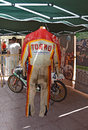 Motorcycle racing leathers of the spanish world champion ricardo tormo seen displayed at the algueña road races Royalty Free Stock Photos