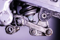 Motorcycle rear suspension linkage Royalty Free Stock Photo