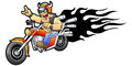 Motorcycle rider cool biker rides on a vector illustration Royalty Free Stock Image