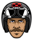 Motorcycle rider with mustache and wearing vintage helmet Royalty Free Stock Photo