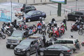 Motorcycle riders gathering a enthusiasts in bucharest romania Royalty Free Stock Photography