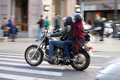 Motorcycle riding valencia spain january panning photography of a couple a near the city center of valencia Stock Photography