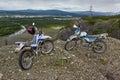 A motorcycle s enduro on the brink of breakage mountains susuman kolyma img magadan area Royalty Free Stock Photo