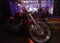 Motorcycle at scene of night bar Royalty Free Stock Photo