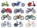 Motorcycle set. Motorbike and scooter, sport bike and chopper. Motocross race and delivery vehicles side view isolated Royalty Free Stock Photo