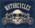 Motorcycle side view and skull with glasses. Royalty Free Stock Photo