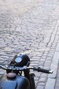 Motorcycle on the street old cobbled streets Royalty Free Stock Photography