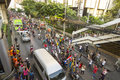 Motorcycle traffic jam in city centre during celebrate football fans winning AFF Suzuki Cup 2014. Royalty Free Stock Photo