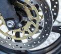 Motorcycle wheel brake background in motorbike, motorcycle wheel Royalty Free Stock Photo