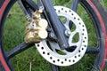 Motorcycle wheel disc brake Royalty Free Stock Photo