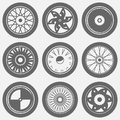 Motorcycle wheel icons Royalty Free Stock Photo