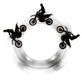 Motorcycles in circle Stock Images