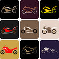 Motorcycles - color vector icons Royalty Free Stock Images