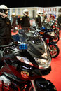Motorcycles cortege of federal security service at the years of kremlin garage show in moscow march Stock Photo