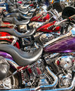 Motorcycles lined up at street vibrations line of reno nevada Royalty Free Stock Photo
