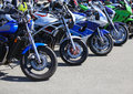 Motorcycles on parking powerful in a row Stock Photography