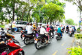 Motorcycles riders in ho chi minh city saigon vietnam october road traffic saigon vietnam is the biggest southern of vietnam most Stock Photos