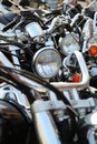 Motorcycles in a row Stock Images
