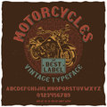 Motorcycles Vintage Label Typeface Poster