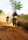 Motorcyclist on the competition at motorcycle race Royalty Free Stock Photo