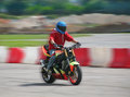 Motorcyclist quickly rushes motorcycle stadium Stock Photo
