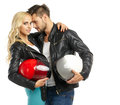 Motorcyclists couple with helmets Royalty Free Stock Photo